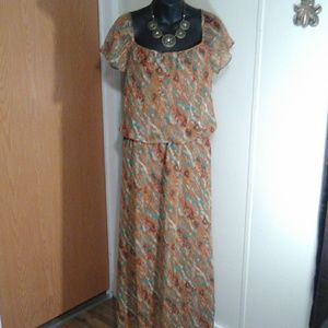 Positive attitude dress size 10 Brown aqua blue